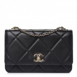 Chanel Lambskin Quilted Trendy Cc Wallet On Chain Woc Black