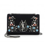 Ysl Saint Laurent Monogram Kate Berber Chain Bag In Black Suede With Multicolored Beads 471286