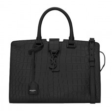 Ysl Small Cabas Bag In Black Crocodile Embossed Leather