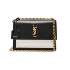 Ysl Medium Sunset Bag In Black And Pearl White Leather