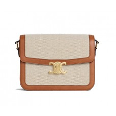 Celine Large Triomphe Bag In Textile And Natural Calfskin Shoulder Bag