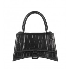 Balenciaga Hourglass Top Handle Bag in shiny crocodile embossed calfskin