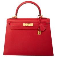 Hermes Kelly Bag 28 Sellier Etoupe Grey Epsom Leather Gold Hardware