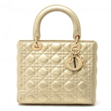 Christian Dior Soft Gold Metallic Quilted Leather Lady Dior Handbag