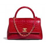 Chanel Red Flap Bag With Top Handle