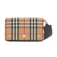Small Vintage Check and Leather Crossbody Bag