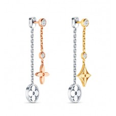 Louis Vuitton Blossom Long Earrings, 3 Golds And Diamonds