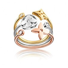 Louis Vuitton Idylle Set Blossom Ring and Bracelet, 3 Golds And Diamonds