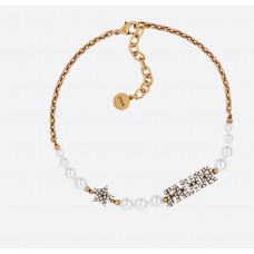 White Resin Bead And Crystal 'J'Adior' Antique Gold Finish Choker