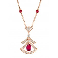 DIVAS'DREAM 18 kt rose gold openwork necklace set with a pear-shaped ruby