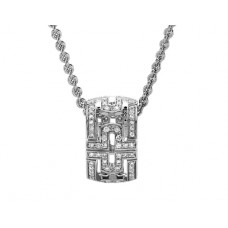 Parentesi round pendant with pave diamonds and 18kt gold chain